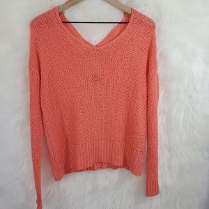 Sparkle and fade coral sweater